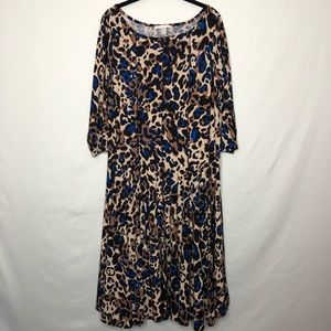 Maria Gabrielle Cheetah Print 3/4 Sleeve Dress 2X